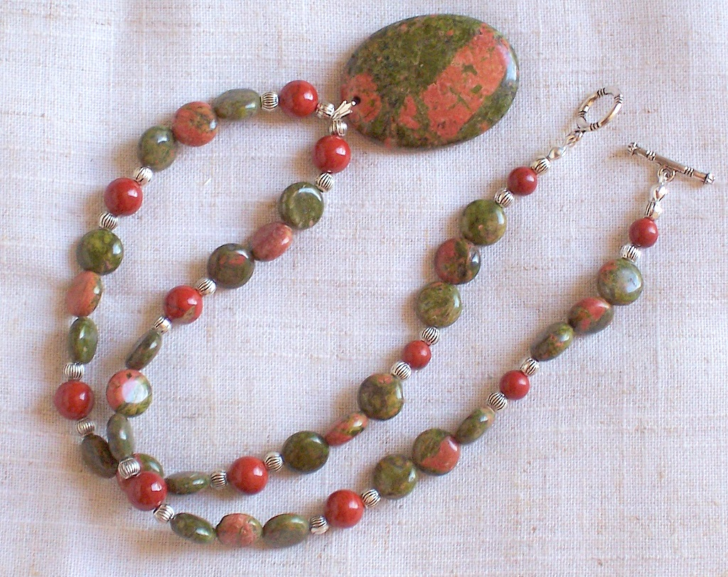 unakite,red jasper,necklace
