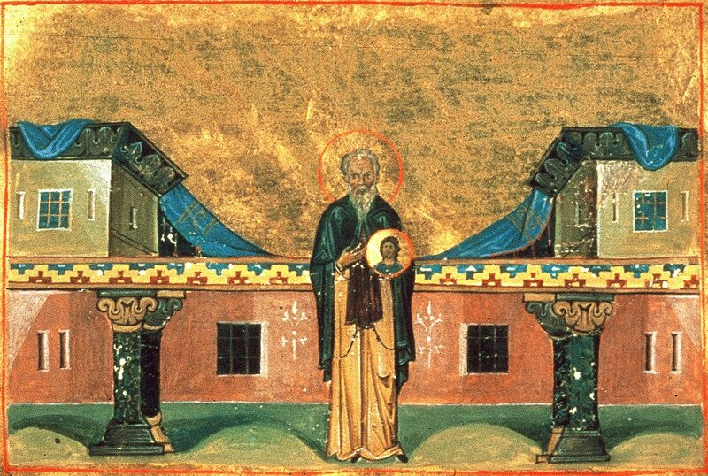 Святой Преподобный Никита Исповедник, игумен обители Мидикийской. Византийская миниатюра.
