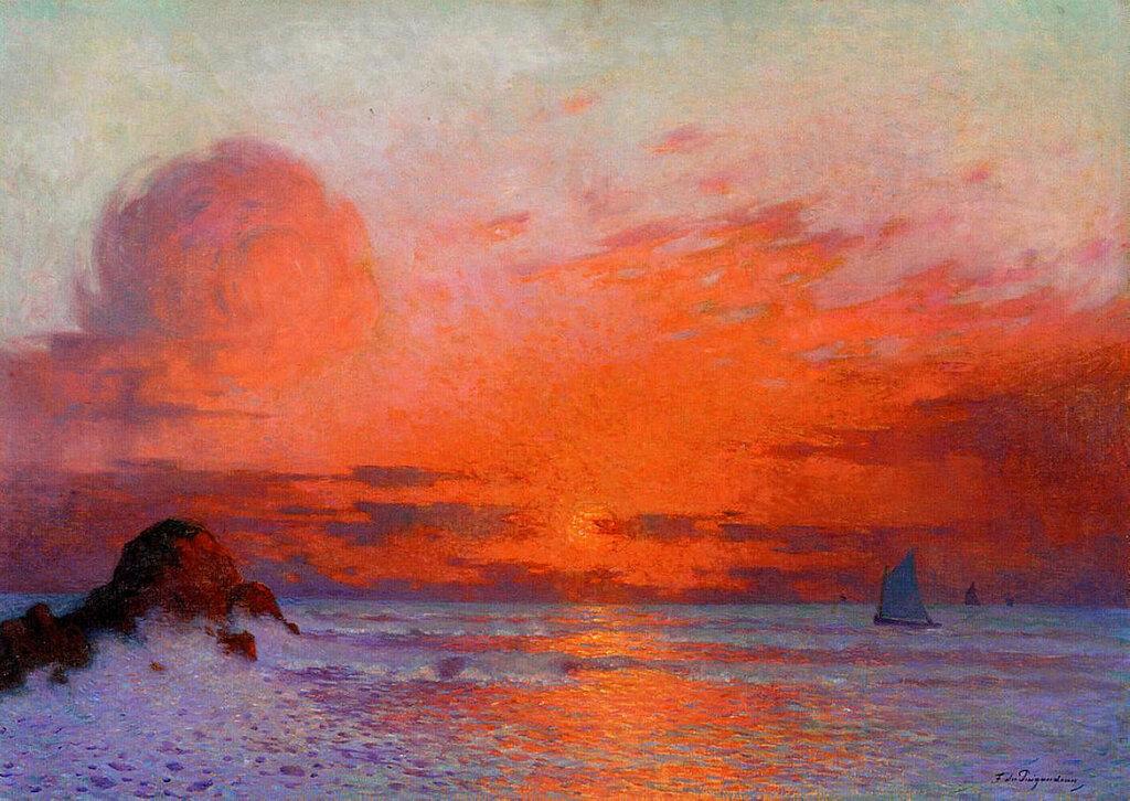 Ferdinand du Puigaudeau - Sailboats at Sunset (aka Sun Setting on the Sea).jpeg