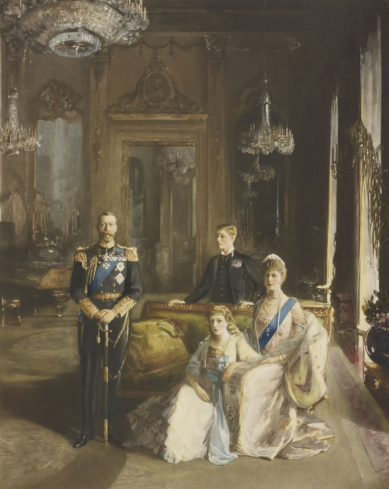 Smythe, Richard (b.1863)[King George V, Queen Mary, and their children King Edward VIII, as Prince of York, and Mary, Princess Royal]  1914