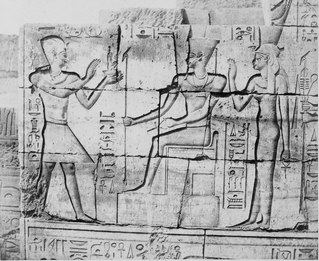 Карнак (Фивы). Роспись внутренней стены. 1858