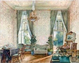 Рудольф фон Альт. Садовый салон во дворце Разумовского на Ландштрассе в Вене, 1845 акварель