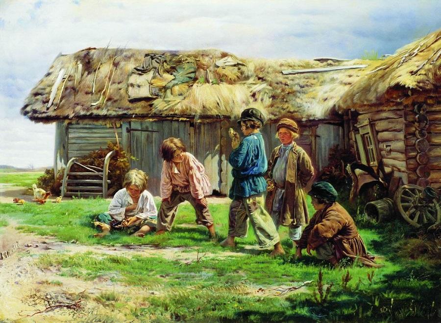Игра в бабки. 1870 Холст, масло. 53 x 71 см  Государственная Третьяковская галерея, Москва.
