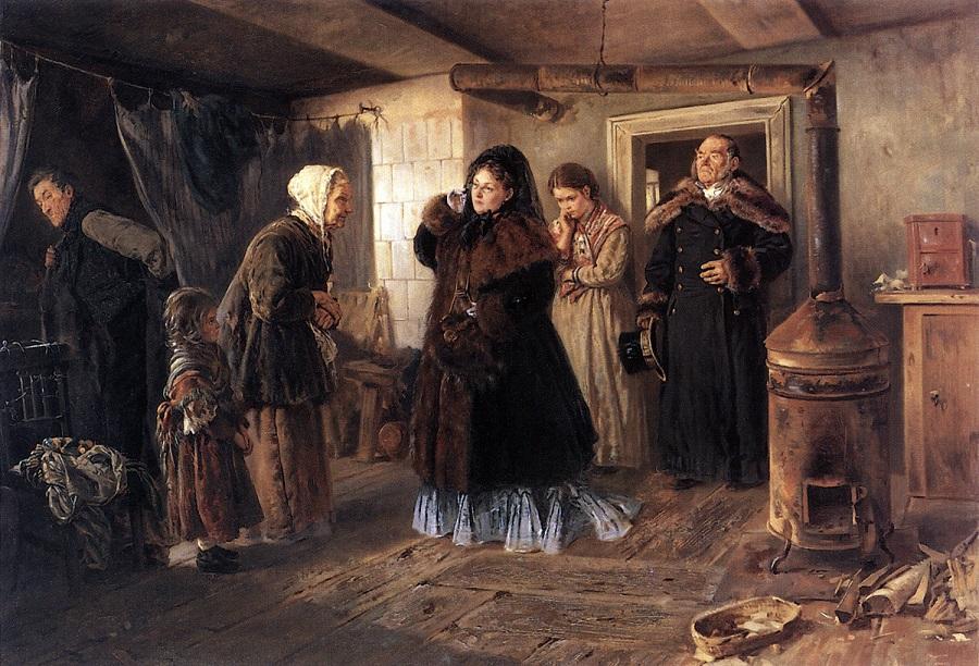 Посещение бедных. 1874 Государственная Третьяковская галерея, Москва.