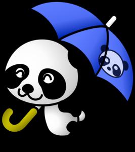 панда с зонтом