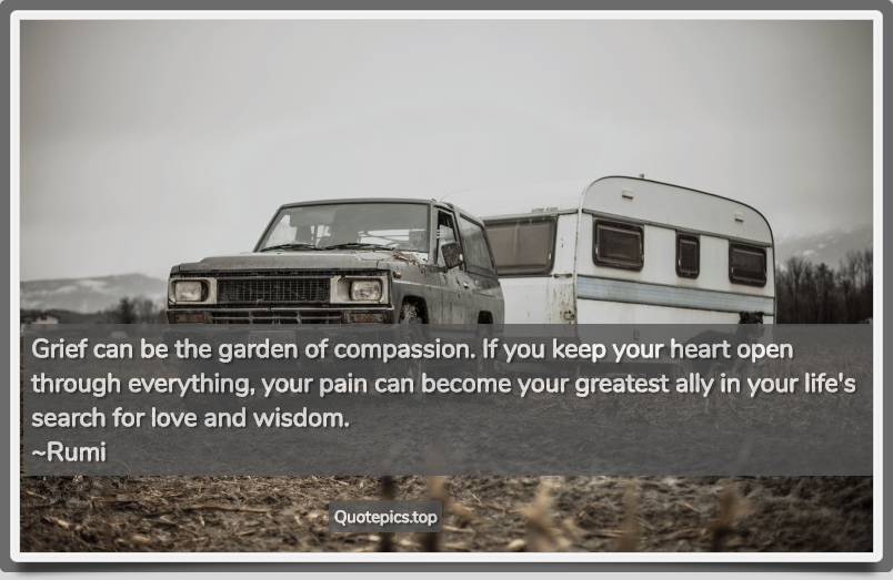 Grief can be the garden of compassion. If you keep your heart open through everything, your pain can become your greatest ally in your life's search for love and wisdom. ~Rumi