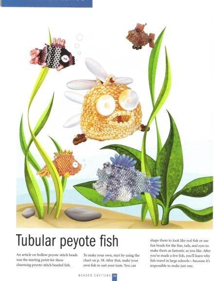 Изменяйте цвета бисера при плетении, чтобы получить новый вид рыбок.  Схемы и.