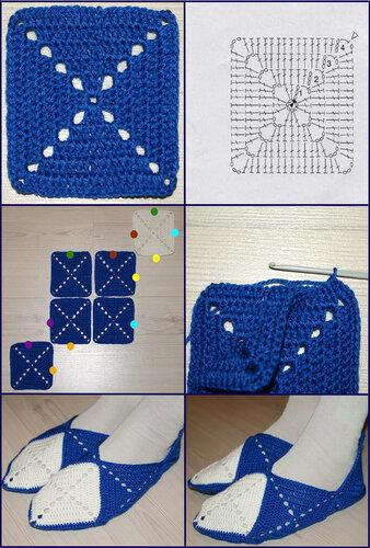 Тапочки квадратов связанные крючком