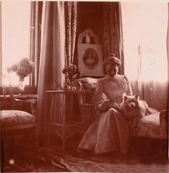 Княгиня З.Н.Юсупова, за спиной княгини - портрет её младшей сестры Татьяны Николаевны.