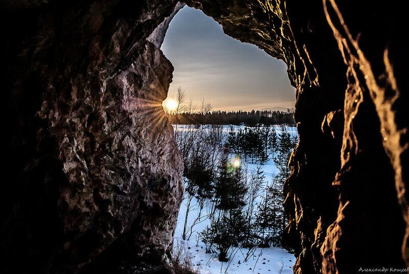 Закат из Тренькинской пещеры