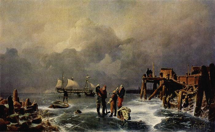 Ufer des zugefrorenen Meeres (Winterlandschaft)