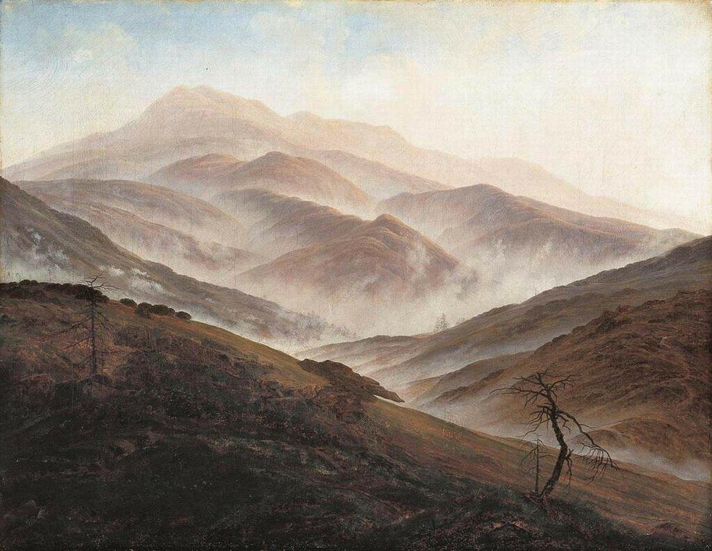Riesengebirge Landscape with Rising Fog (1819-20) Neue Pinakothek, Munich.jpg
