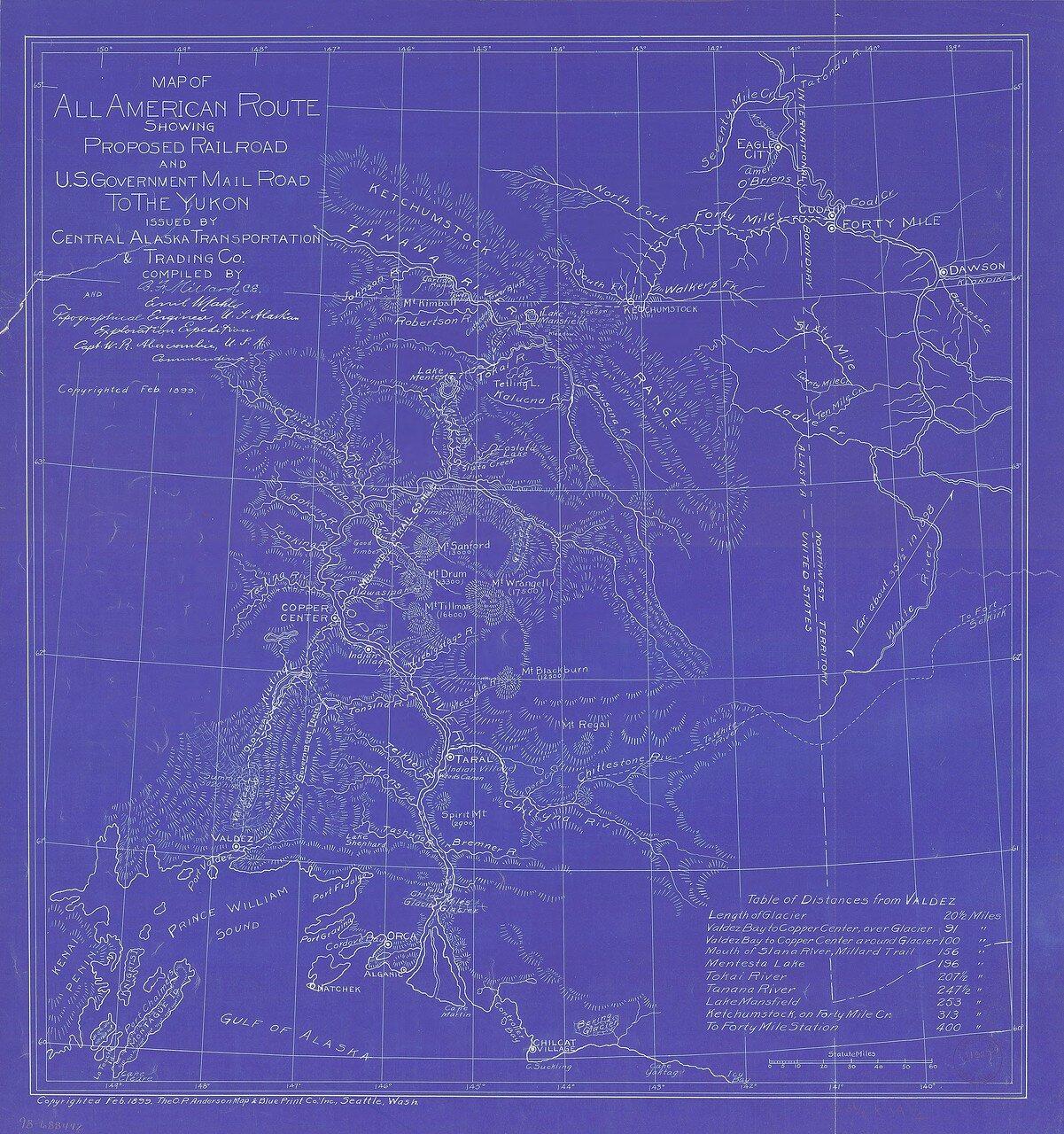 1899. Всеобщая карта дорог Аляски