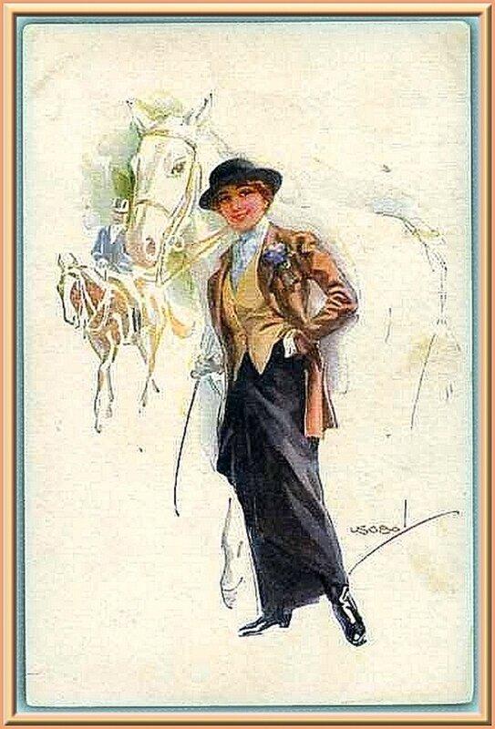 НАЕЗДНИЦА  И  КОНЬ...       Старинная открытка.