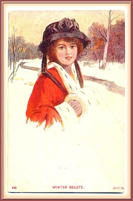 ЛЕДИ    ЗИМА .       Старинная  открытка.