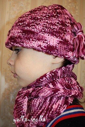 Комплект: шарф-бактус и шапочка