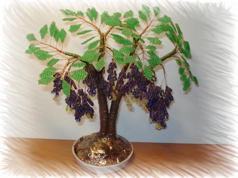 Как сделать дерево из бисера цветы из