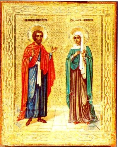 """Икона  """"Святых мучеников Адрианы и Наталии """" ."""