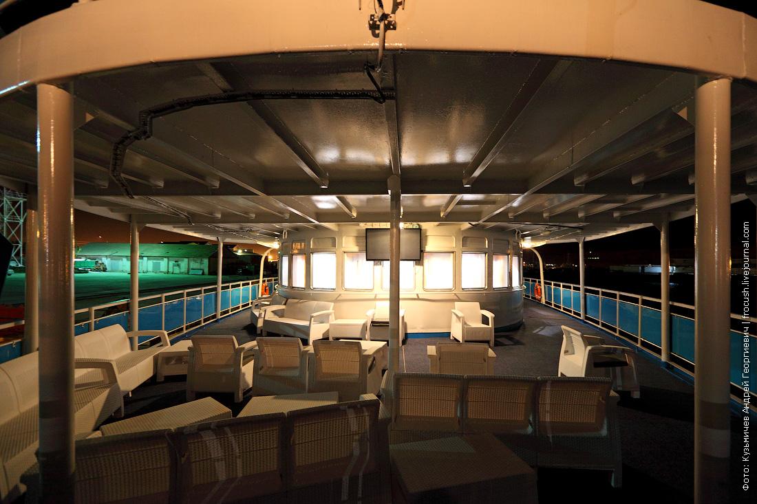 ночное фото теплоход Русь Великая в порту Баутино Мангышлак