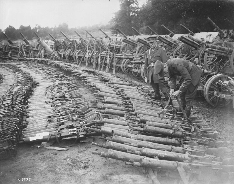 Guns captured by Canadians on Arras Front. Advance East of Arras. September 1918.