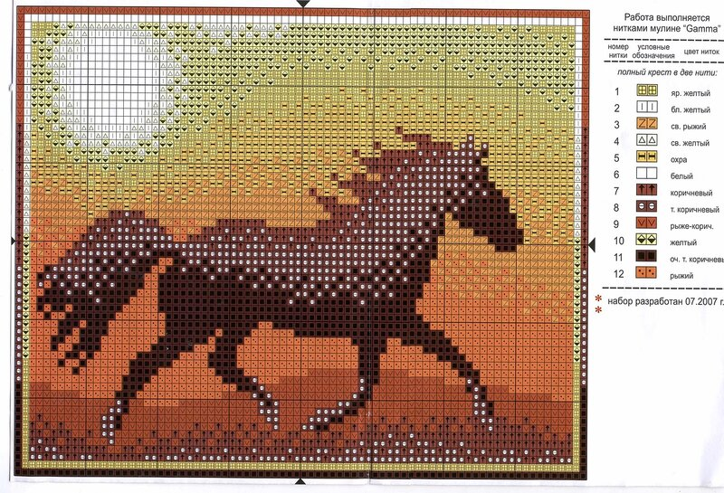 Девочки, поделитесь, пожалуйста, небольшими схемами лошадок, размер примерно 50 на 50 крестиков.