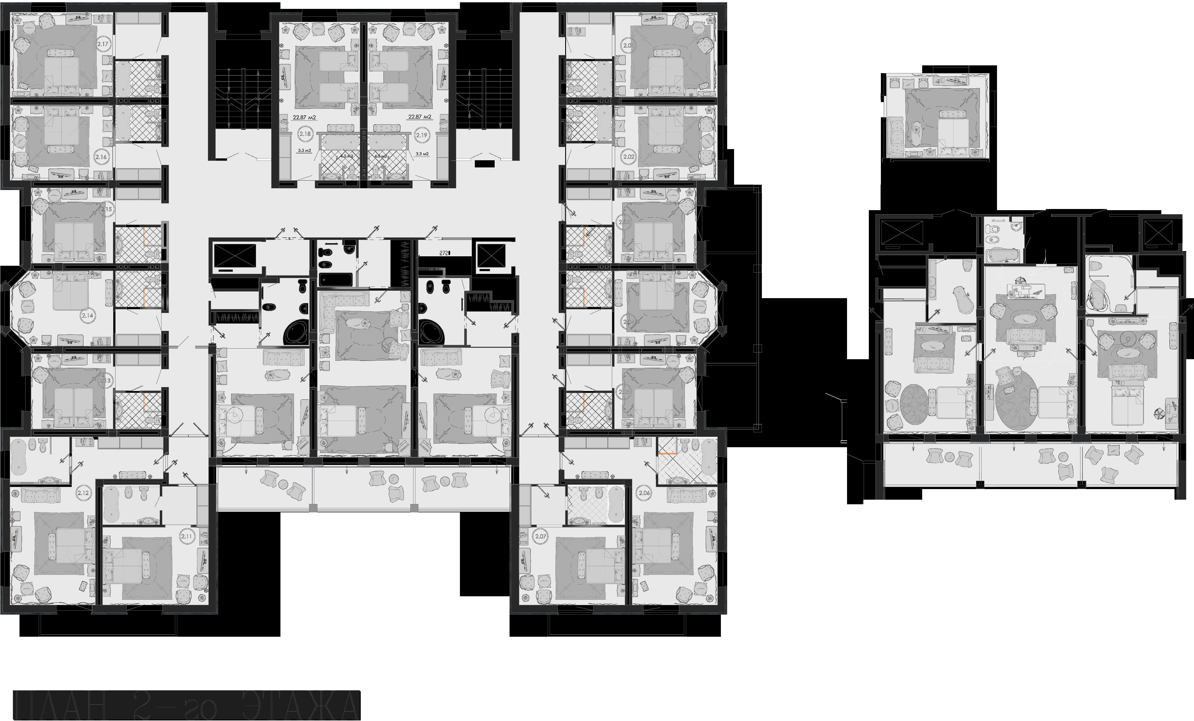 План второго этажа c расстановкой классической мебели в индивидуальных номерах.