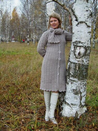 вязание крючком пальто схемы