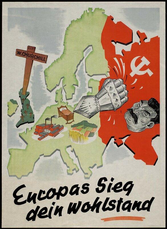 военные плакаты, новая Европа, идеология фашизма