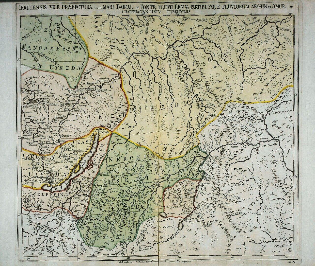 1745. Иркутская провинция с озером Байкал, рекой Леной и частями рек Аргунь и Амур