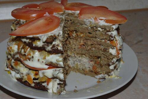 Печёночный торт с солеными огурцами рецепт пошагово