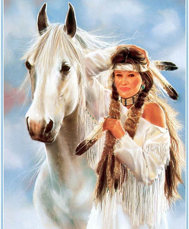 Индейская женщина с лошадью, индеанка, скво, индеец, девушка, женщина, лошадь, конь, америка, прерии, вигвам.