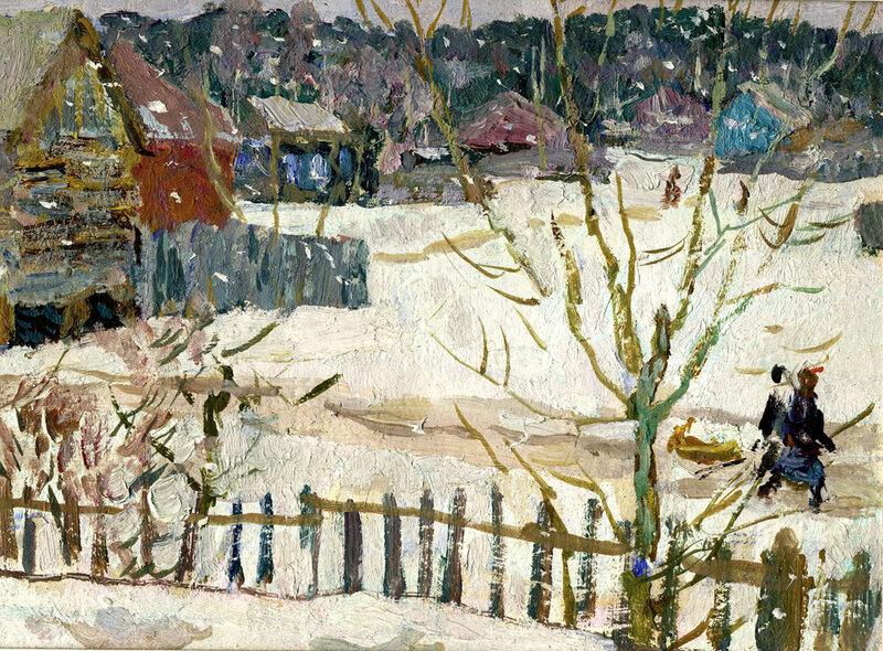 Е.В. Рябинский. Снежок идет. 1973