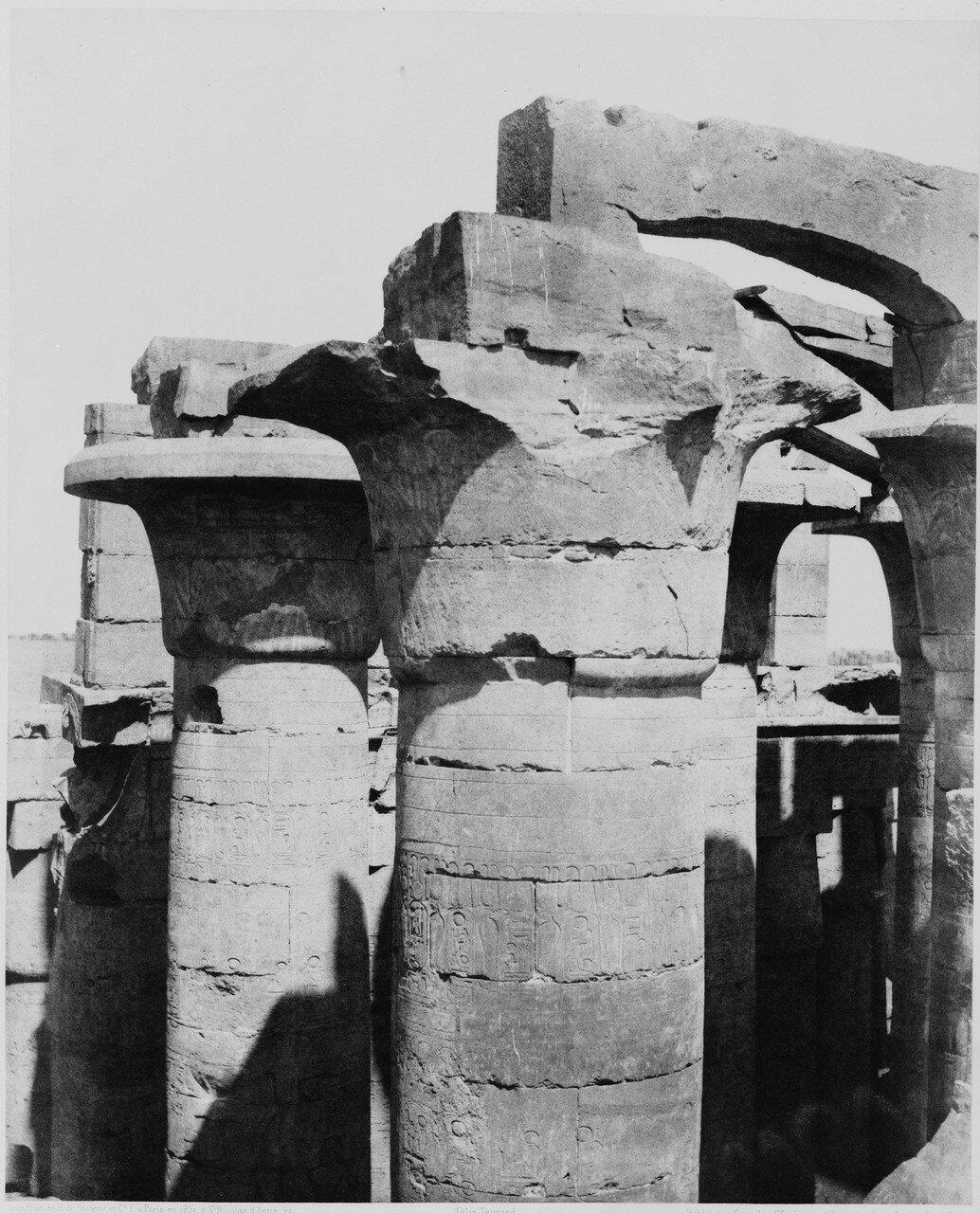 Карнак (Фивы). Центральная колоннада гипостильного зала. 1858