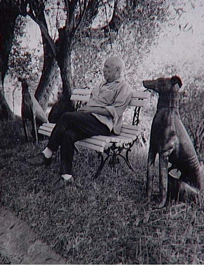 1966. Пикассо сидящий на скамейке в профиль