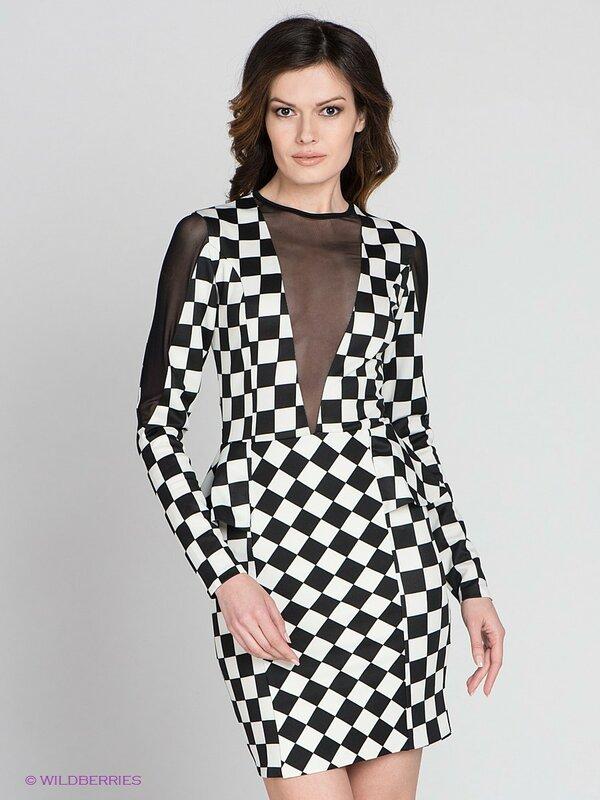 Комбинированное платье  в чёрно-белую клетку