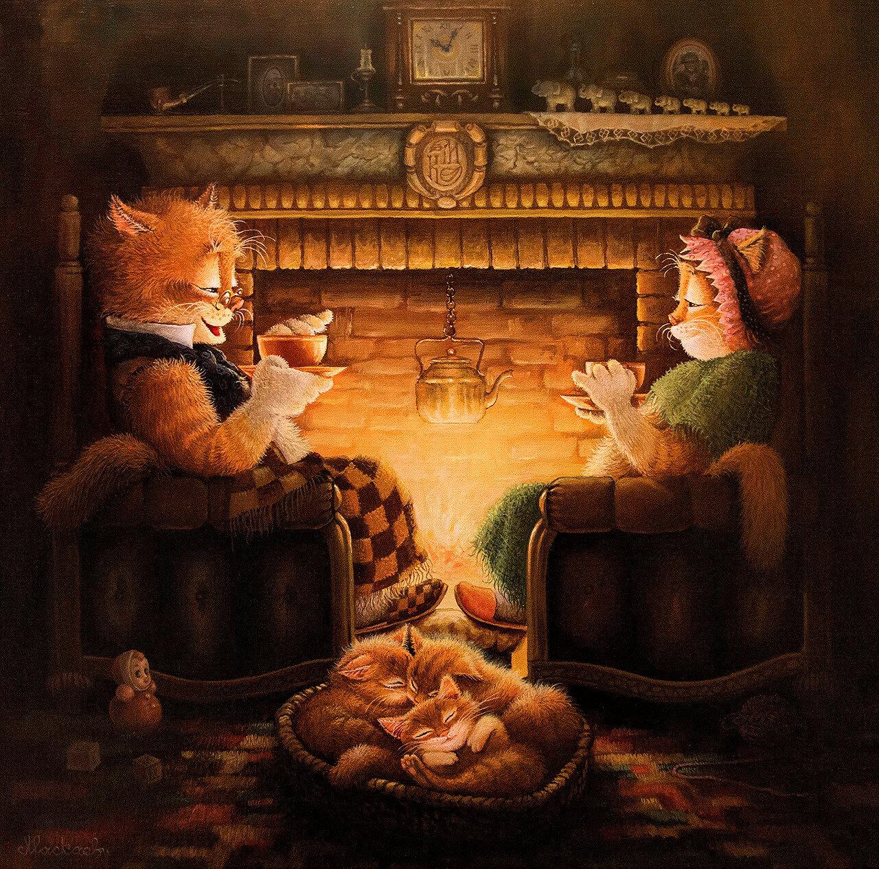 Два кота в у камина