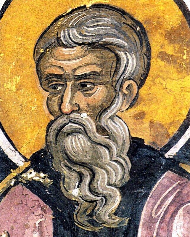 Святой Преподобный Феодор Сикеот. Фреска XVI века в монастыре Дионисиат на Святой Горе Афон.