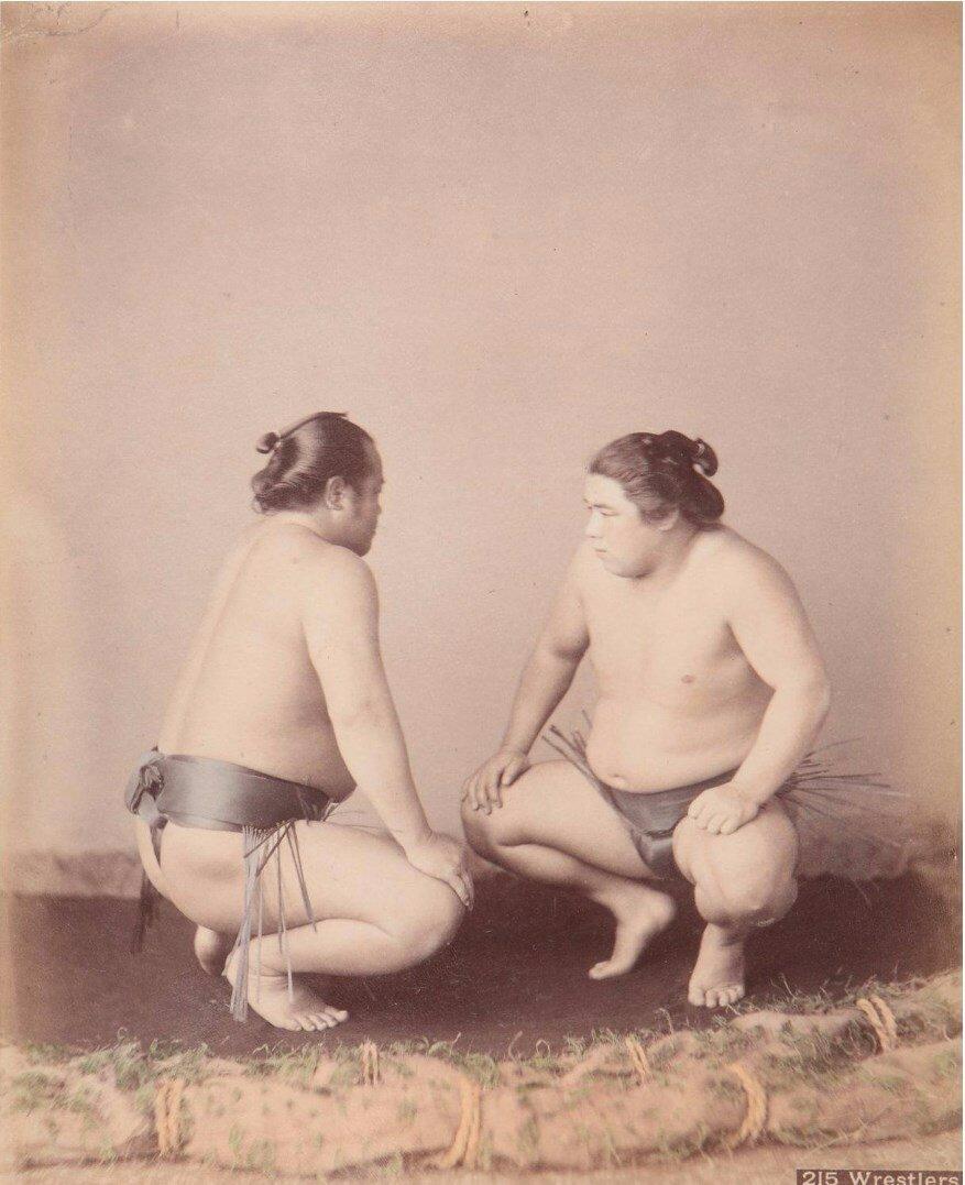 Борцы сумо, ок 1875