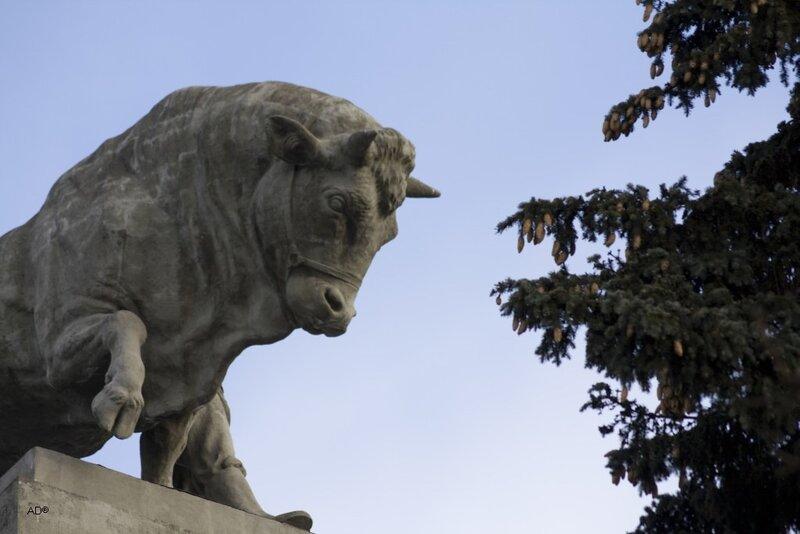 Скульптура быка на павильоне № 51 «Мясная промышленность», «Главмясо»