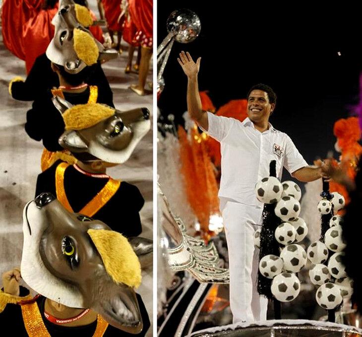 Бразильский карнавал. Карнавальные торжества на Sambodrome в Сан-Паулу, 13 февраля 2010 года.