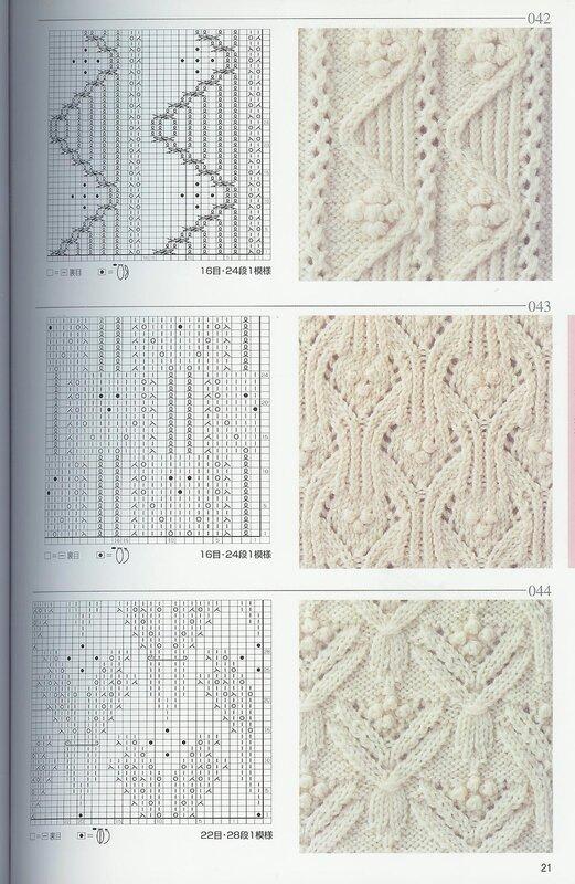 Кто знает обозначение петель в этих схемах, в том числе интересует,как вяжутся шишечки в этих узорах.