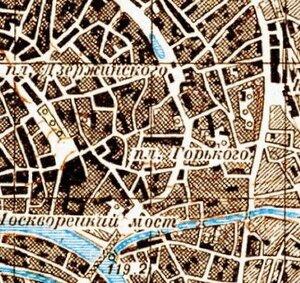 Хитровская площадь (пл. Горького) на карте Москвы 1943 года.
