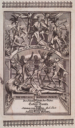 Король умер, да здравствует король!. Sal. van Rusting. Todten-Tanz.  Neurnberg : Peter Conrad Monath, 1736. Page 0, Plate frontispiece.