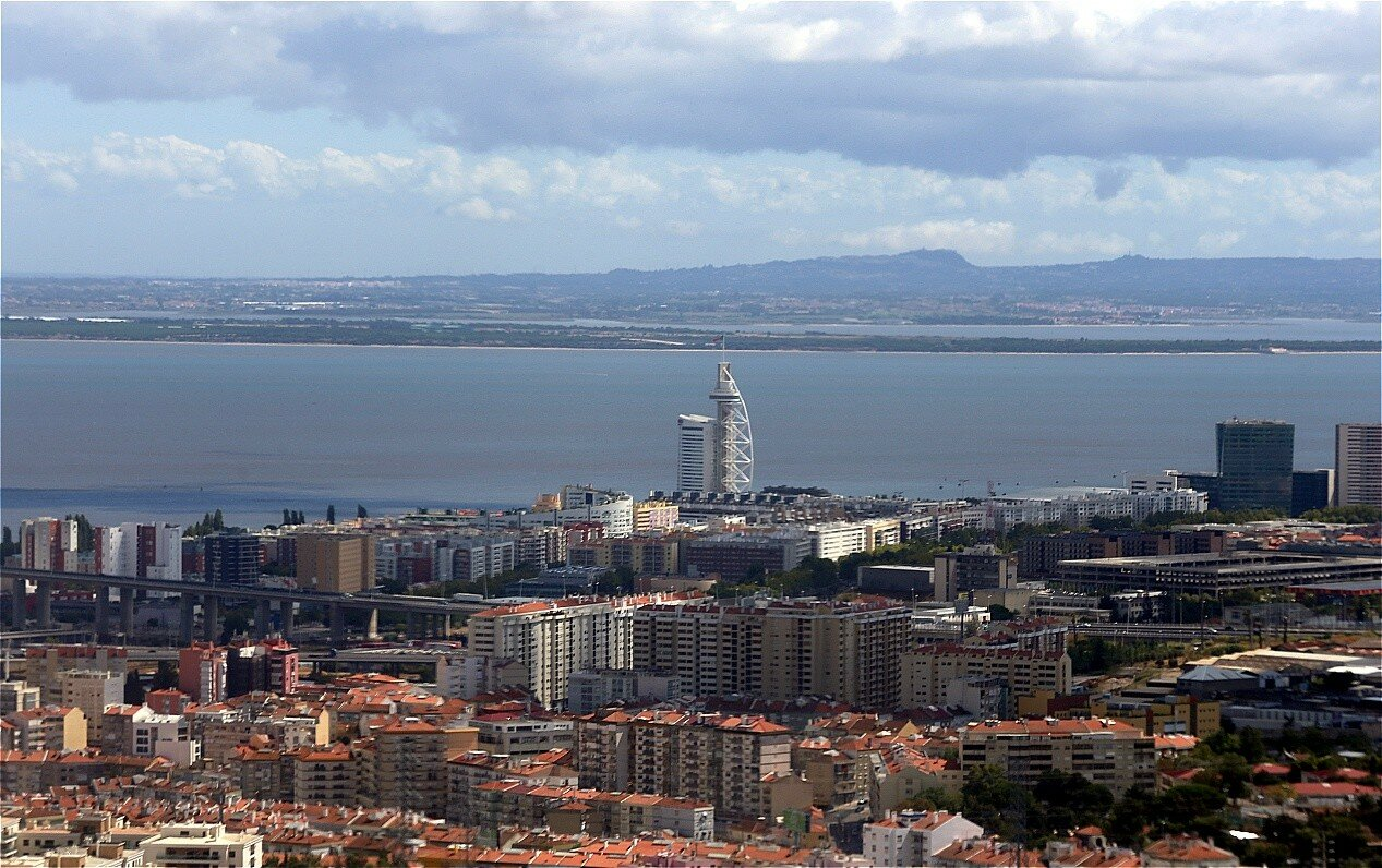 Lisbon. National Park and Vasco da Gama tower from the air