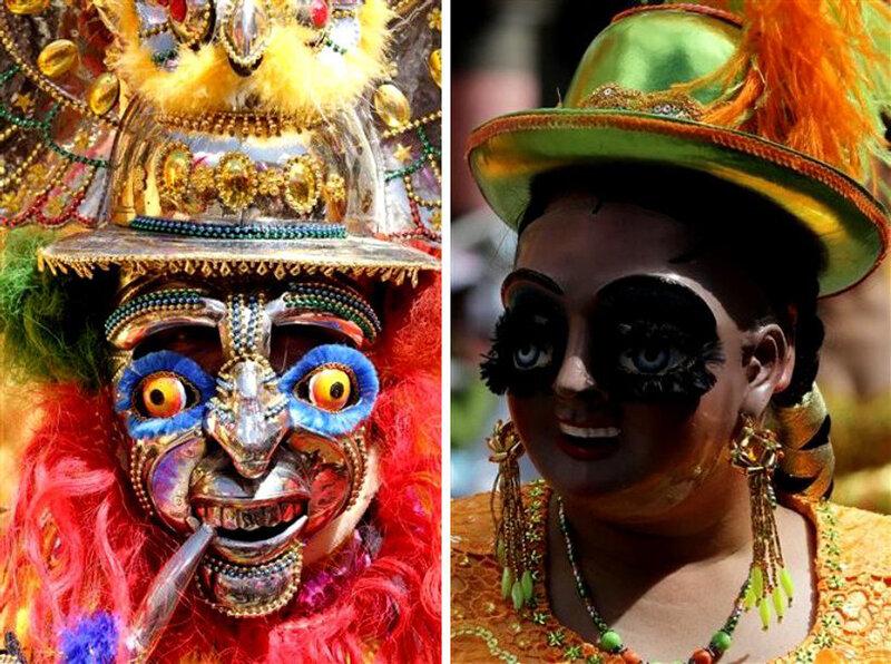 Ежегодный фольклорный карнавал в Оруро, Боливия, 13 февраля 2010 года.