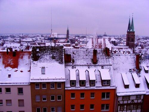 Заснеженные крыши Нюрнберга