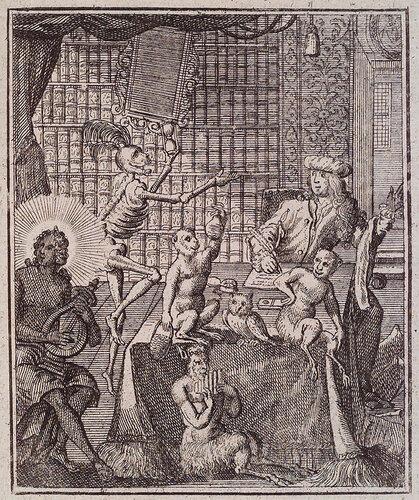 Смерть подносит песочные часы человеку, имеющему глупость верить своим книгам. Sal. van Rusting. Todten-Tanz.  Neurnberg : Peter Conrad Monath, 1736. Page 0.366, Plate 30.