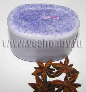 фиолетовая свеча ручной работы