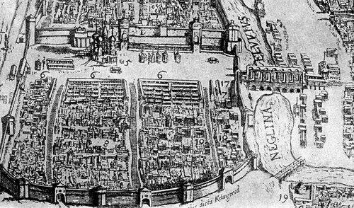 Вид Китай-город на плане Москвы 1610 года.