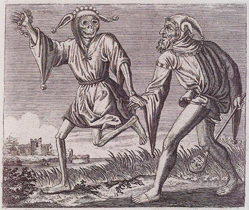 Смерть в облике шута ведет шута. Birmann & Fils. La Danse des Morts. n.c. : n.p., 1830. Page 77.